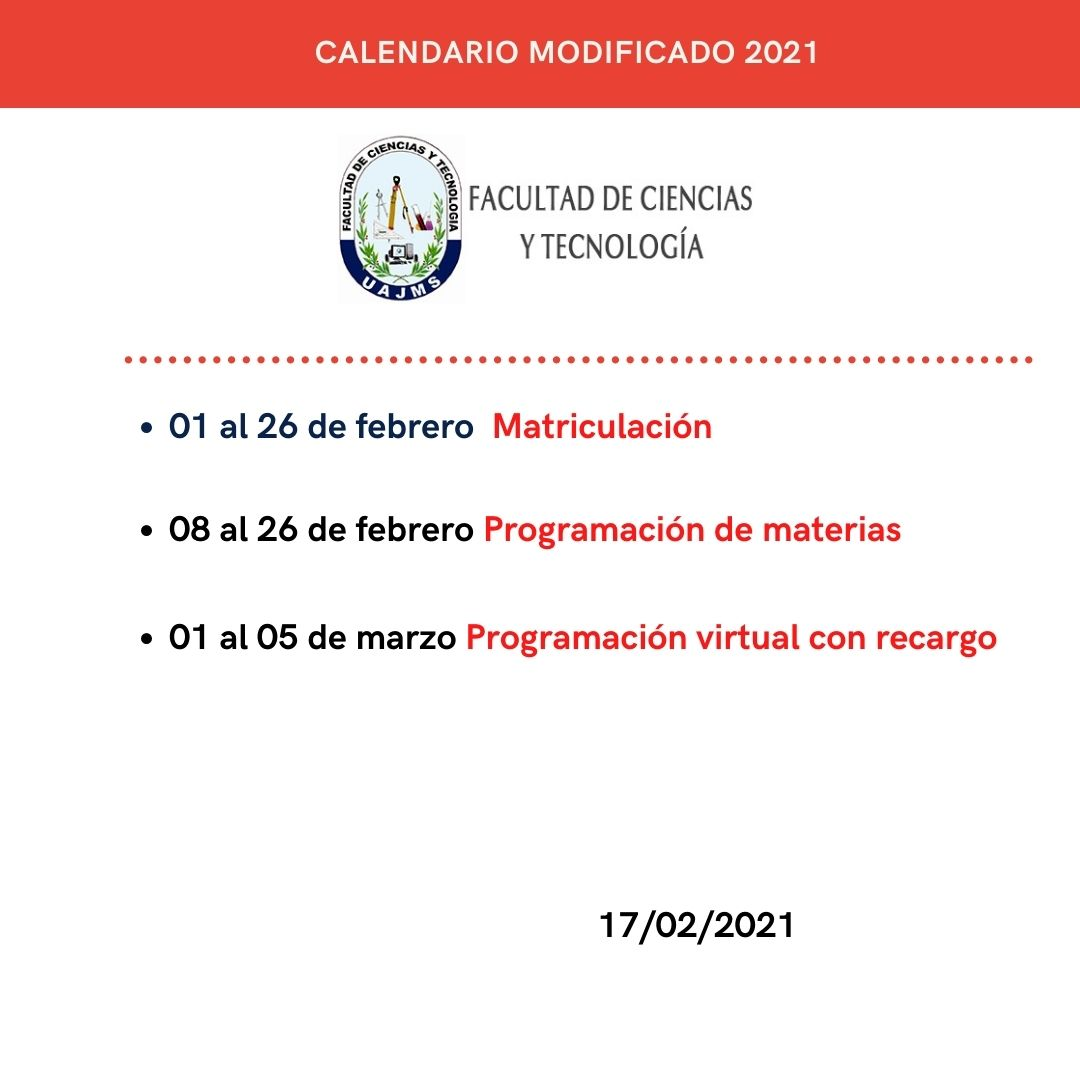 Cronograma programación de materias con recargo 2021