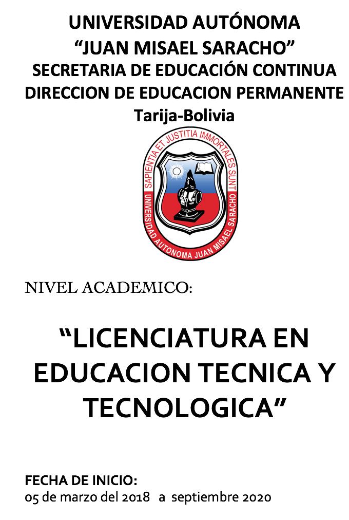 LICENCIATURA EN EDUCACION TECNICA Y TECNOLOGICA