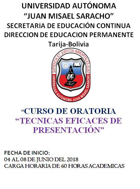 "CURSO DE ORATORIA ""TÉCNICAS EFICACES DE PRESENTACIÓN"""